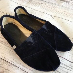 TOMS Navy Blue Velvet Original Classic Slip Ons